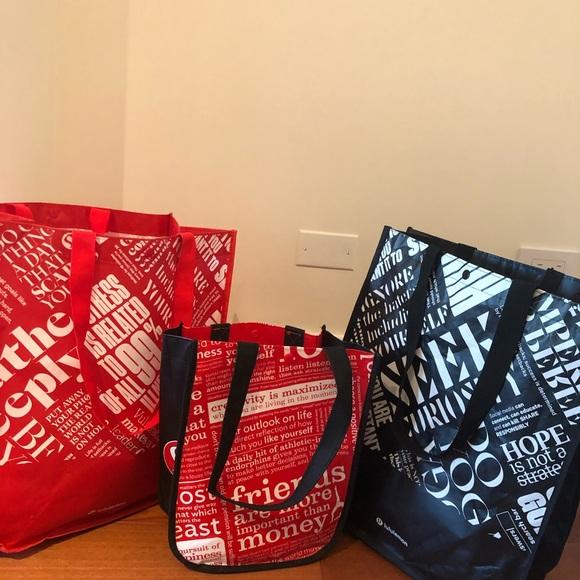 3 lululemon Reusable tote gym Bags